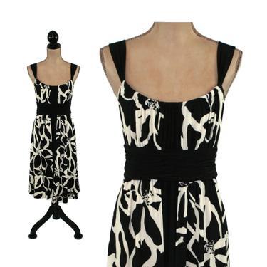 Black & White Floral Print Midi Dress Medium, Sleeveless A Line Sundress, Summer Casual Clothes for Women, Vintage 90s Y2K by MagpieandOtis