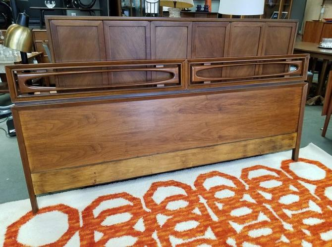 Mid-century Modern walnut king-sized headboard