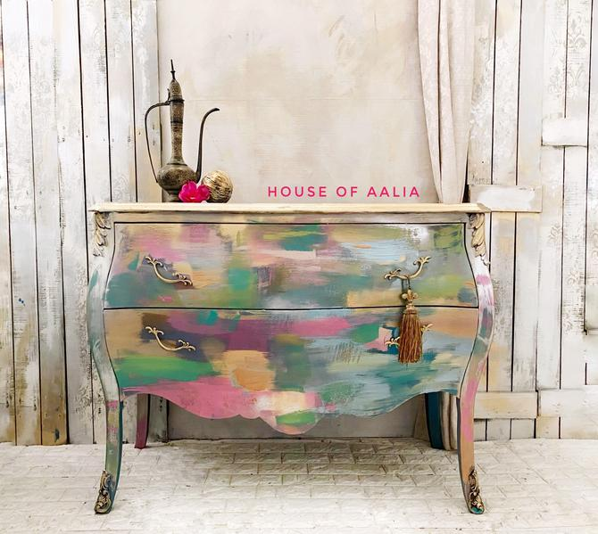 Pastel Boho French Bombe Chest | Metallic Pink Vintage Chest | Entryway Accent Table. Boho Eclectic French Country Home |Bedroom Dresser by HouseofAalia